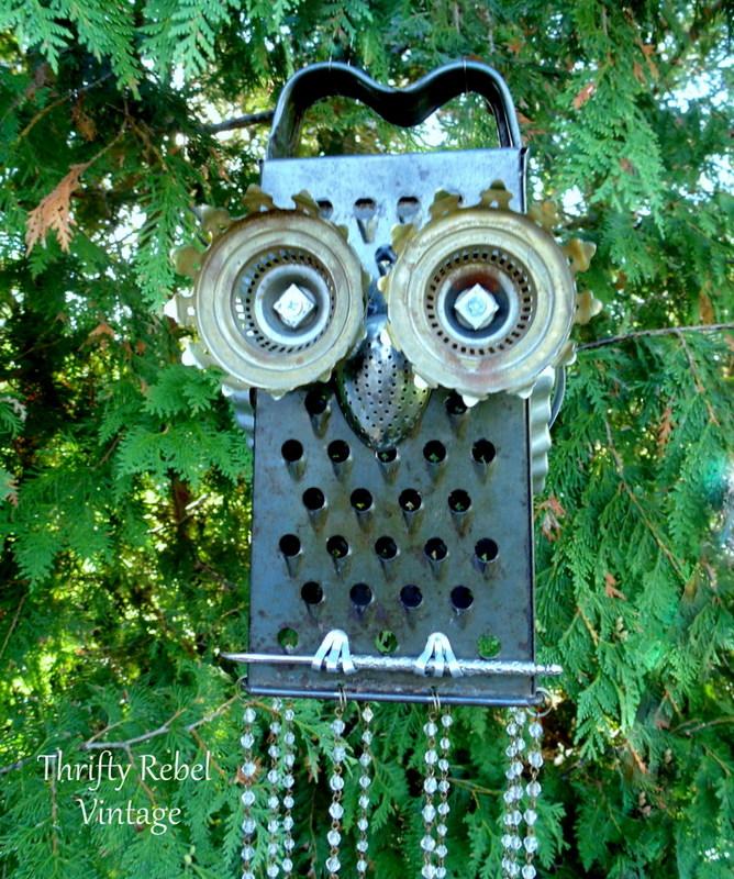 repurposed junk owl wind chime
