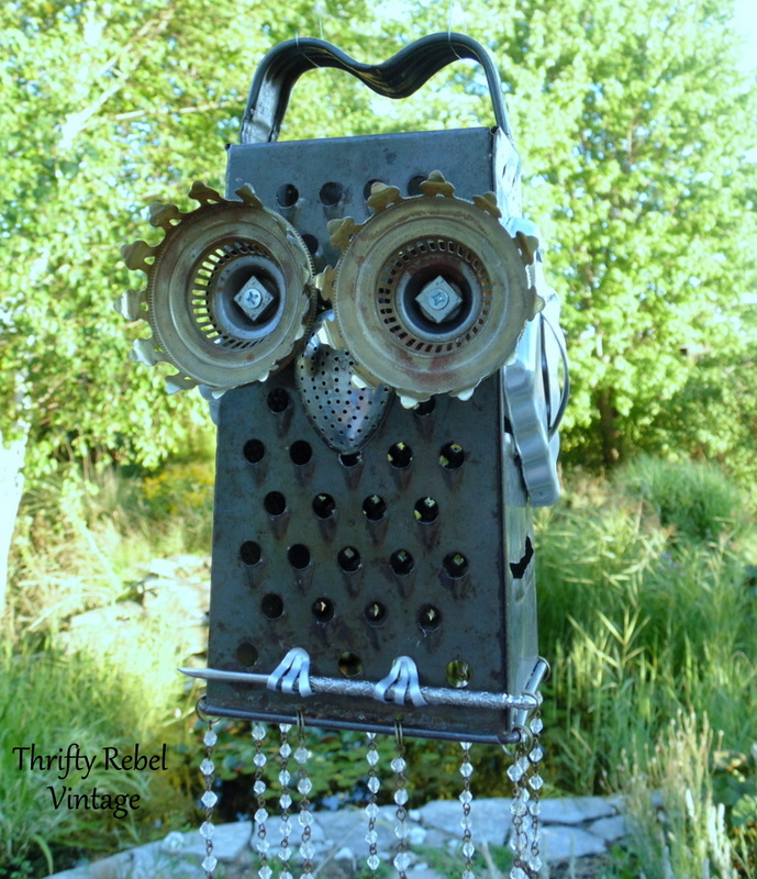 repurposed grater junk owl wind chimes