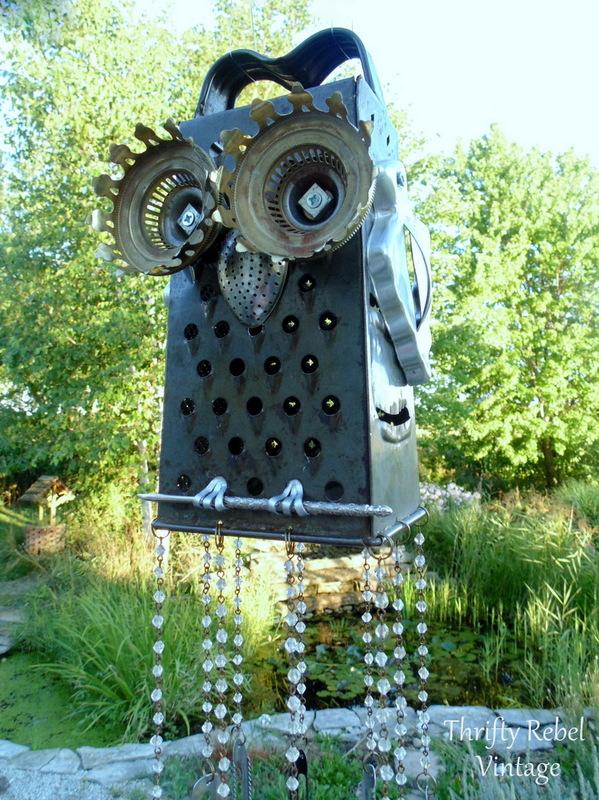 junk owl wind chimes