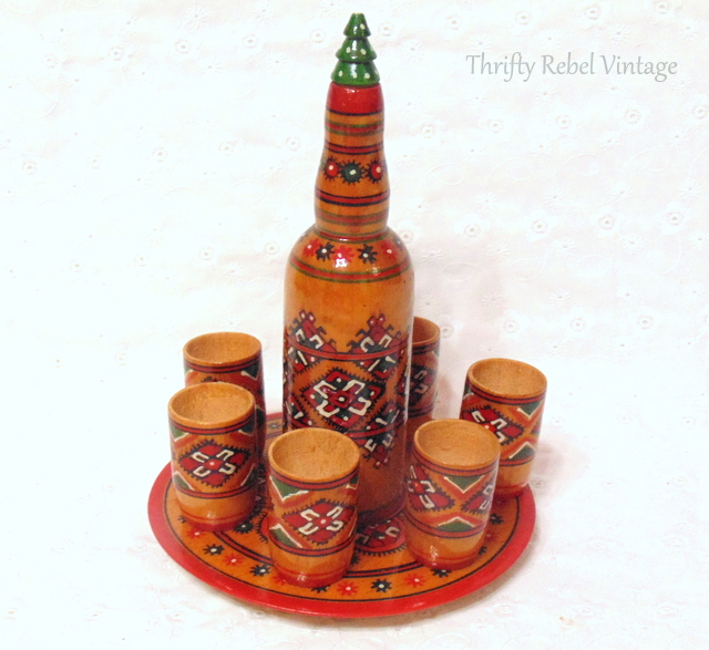 hand painted wooden carafe set