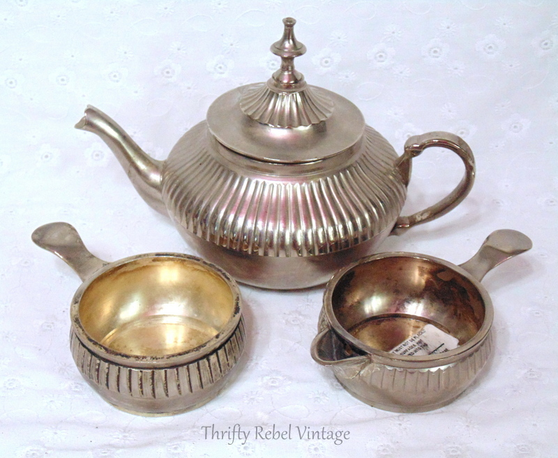 vintage pewter teapot sugar and creamer set