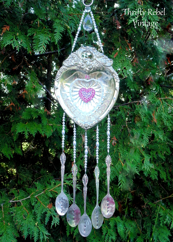 pink rhinestone brooch and silver heart silverware wind chime
