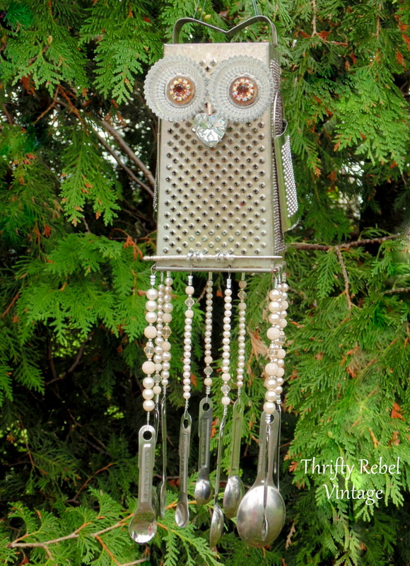 rhinestone eyes grater owl wind chime with measuring spoons