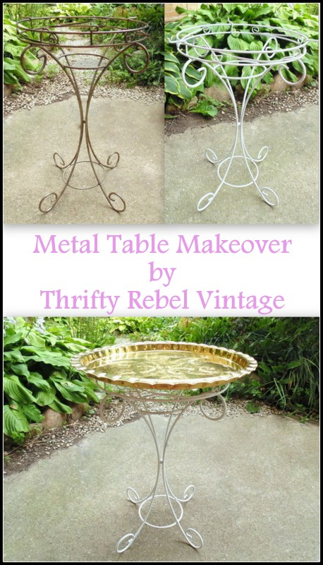 chalk spray paint metal table makeover