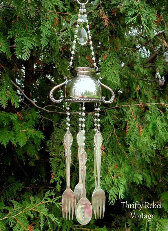 silver sugar bowl wind chiem with hand stamped silverware