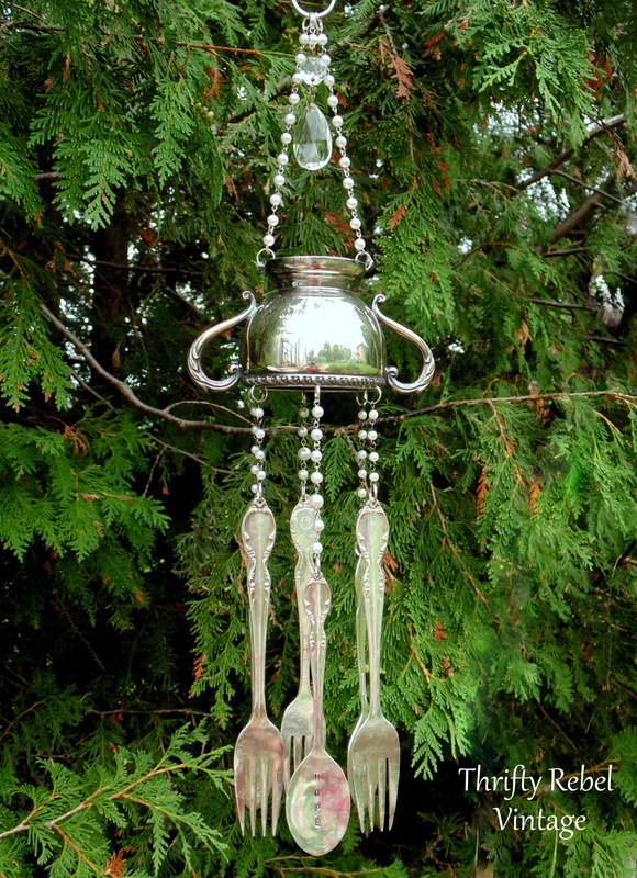 silver sugar bowl wind chiem with hand stamped silverware