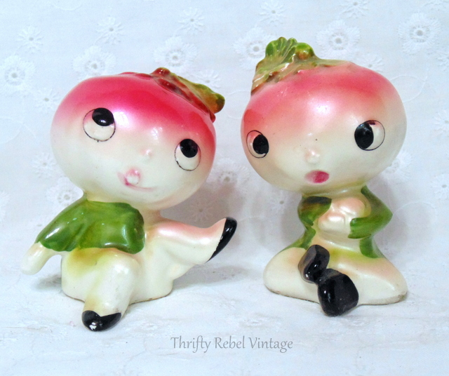 vintage anthropomorphic radish salt and pepper set