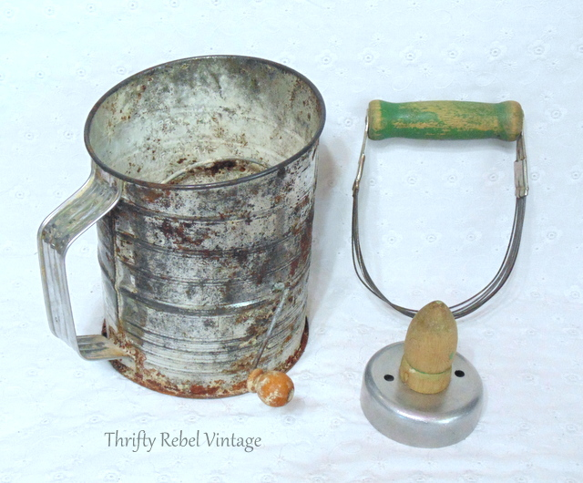 vintage sifter, mini baking pans, kneader and biscuit cutter