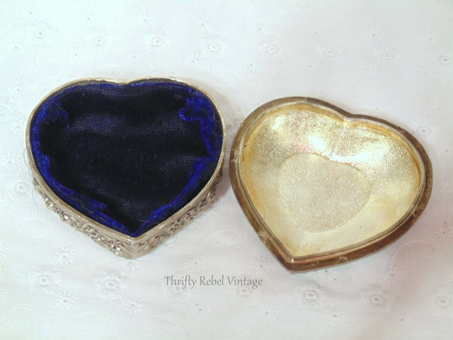 Silver Plate heart shaped trinket box