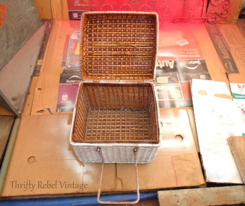 repurposed picnic basket makeover