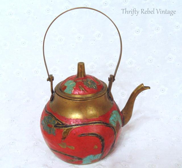 vintage cloisonne brass teapot