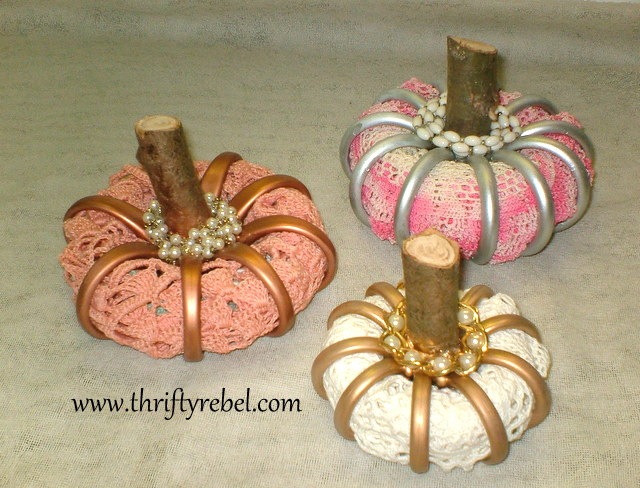 repurposed shower curtain ring pumpkins