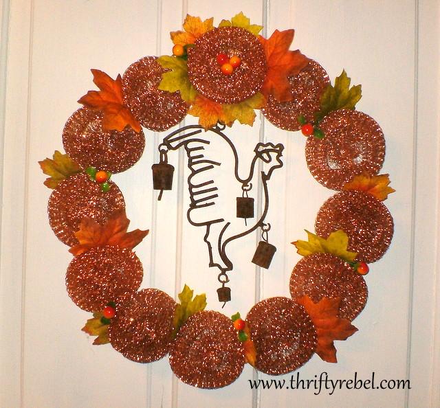 repurposed scouring pad wreath