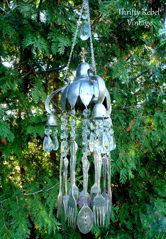 vintage silver candelabra and silverware wind chime