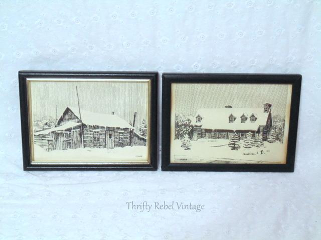 black and white log cabin framed drawing