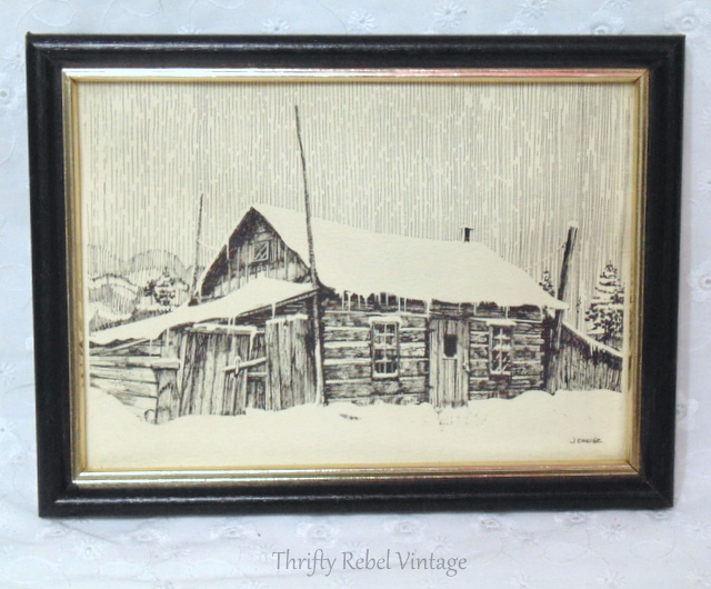 black and white log cabin framed drawing