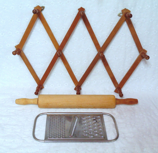 accordion coat rack, rolling pin, flat metal grater