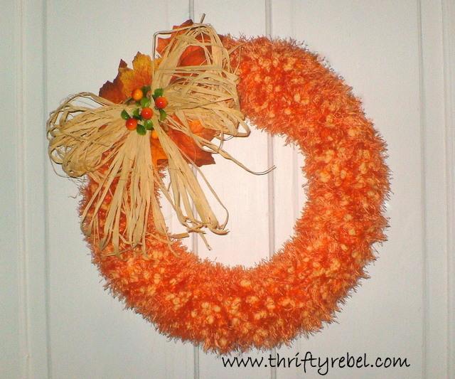 faux pumpkinseed scarf wreath