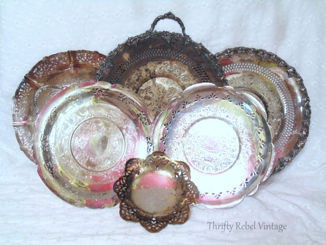 silver trays and platters