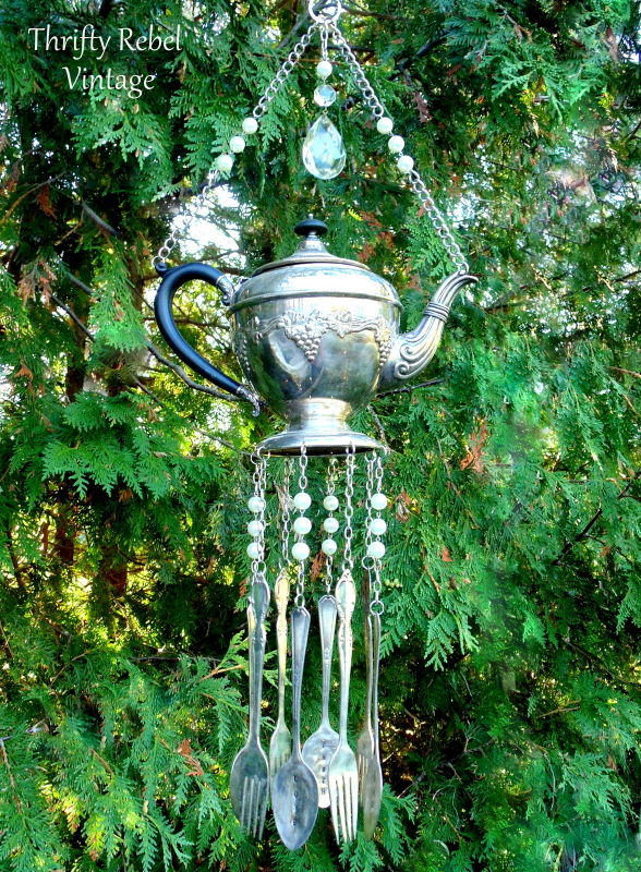 vintage silver teapot and silverware wind chime