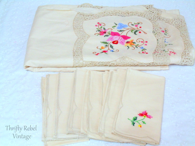 vintage hand embroidered tablecloth and napkins