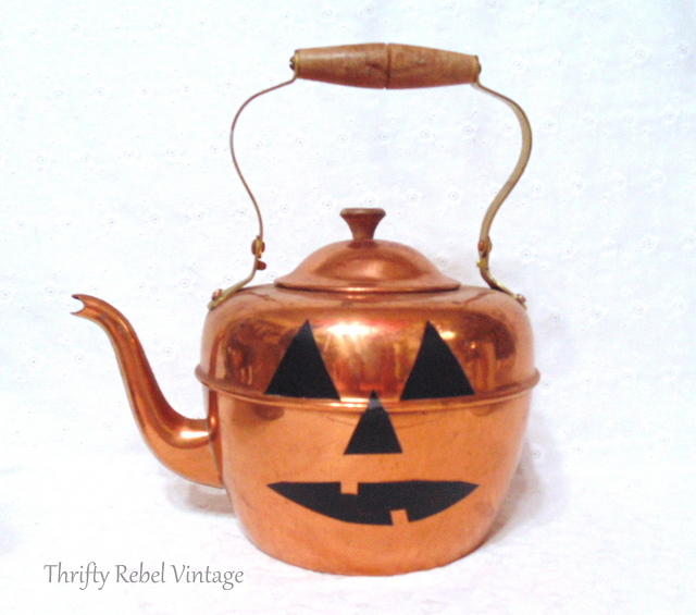 copper teapot jack o lantern