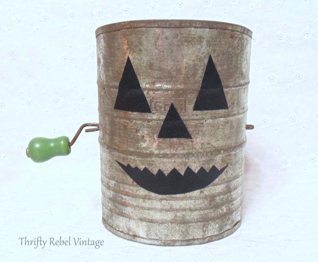 repurposed vintage sifter jack o lantern