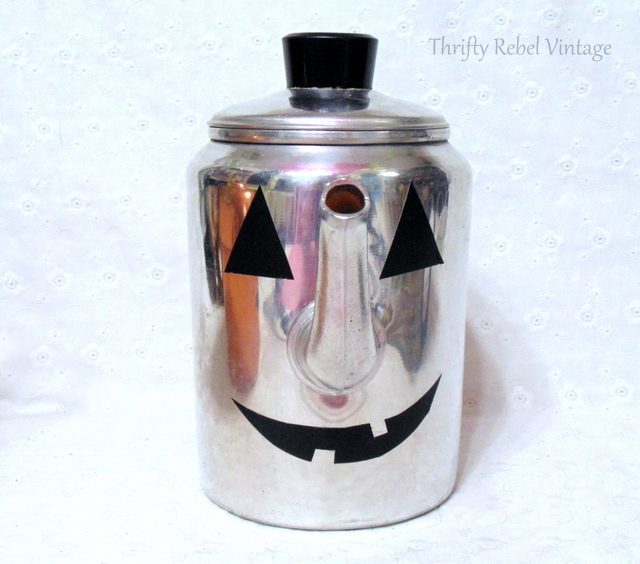 aluminum coffee pot jack o lantern