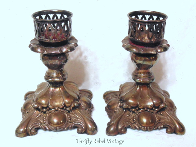 vintage pair of Rogers silver plate candlesticks