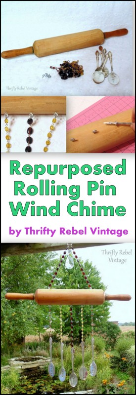 Repurposed rolling pin wind chime