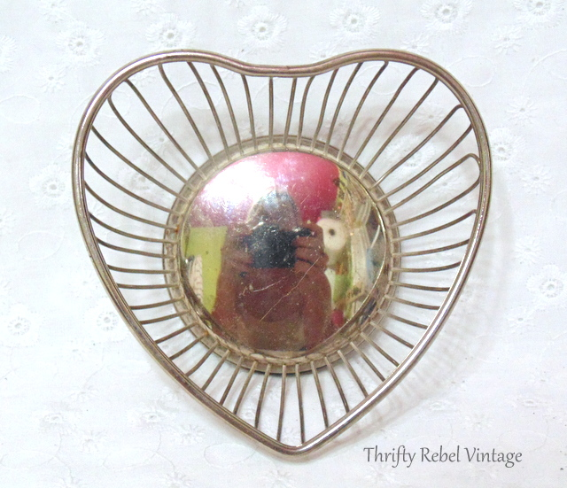 silver plate heart basket