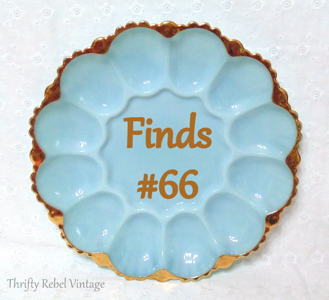 vintage blue anchor hocking devilled egg plate