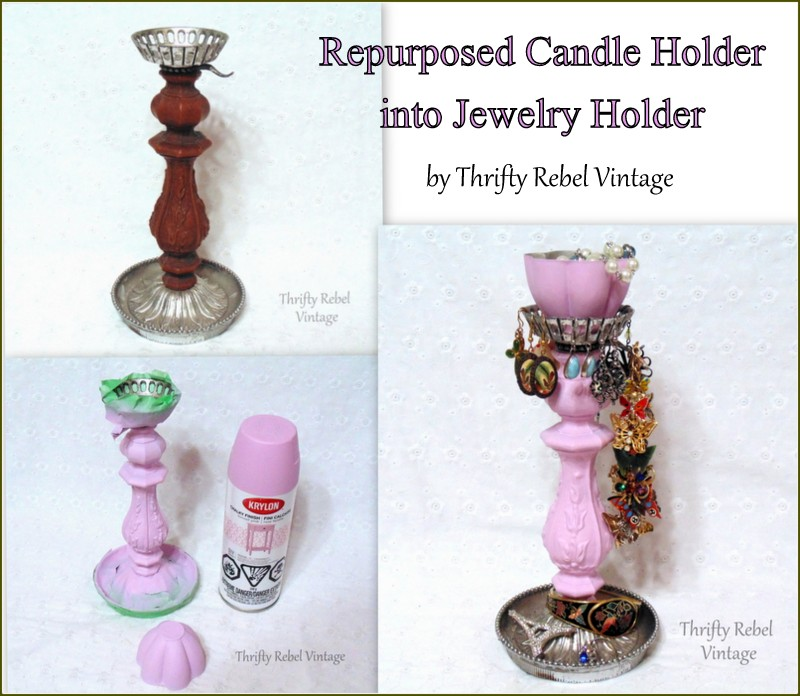 How to Repurpose a Vintage Candle Holder into a Jewelry Holder by Thrifty Rebel Vintage