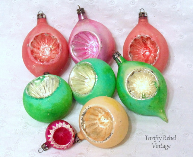 vintage pink and green hand blown glass indented ornaments