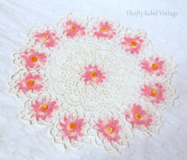 handmade pink and white floral crochet doily
