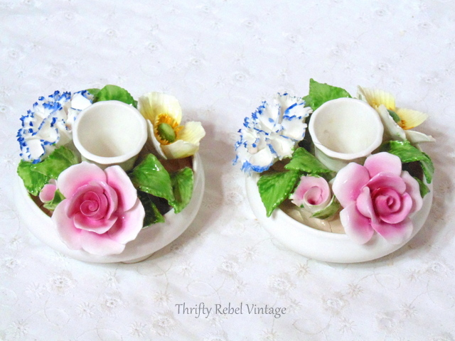 Radnor Staffordshire Bone Chine Flower Candle Holders