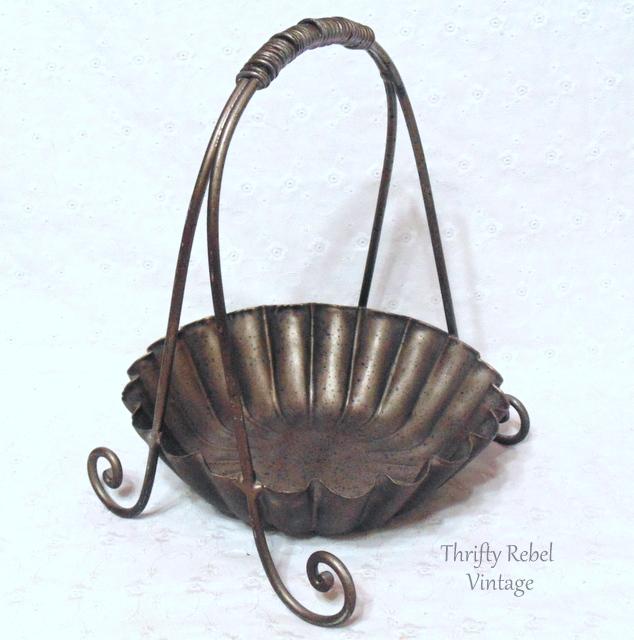 vintage silver metal basket stand