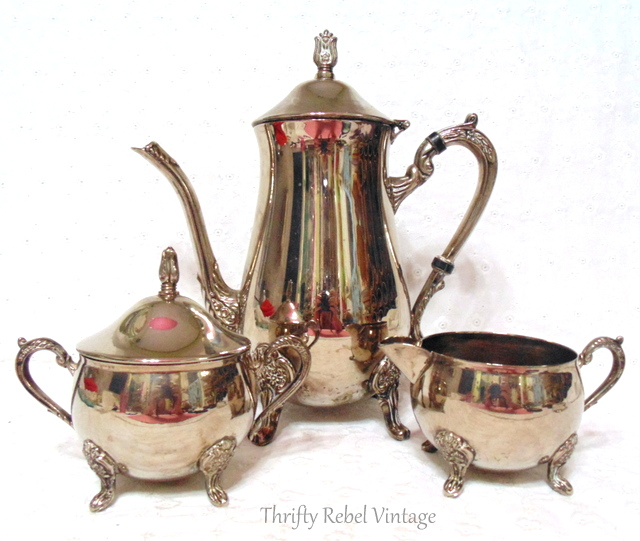 silver teapot creamer and sugar bowl