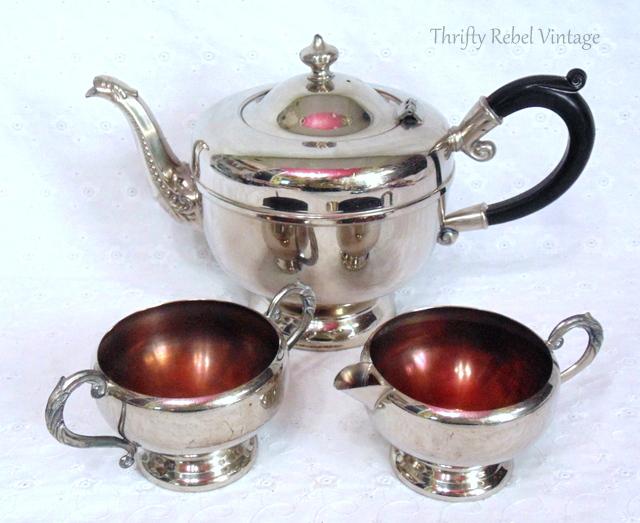 vintage silver teapot set