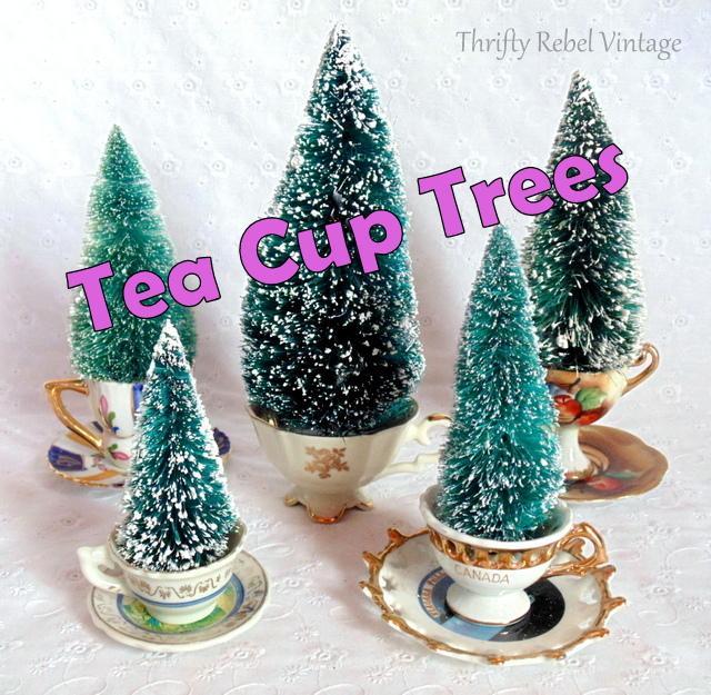 repurposed tea cup trees