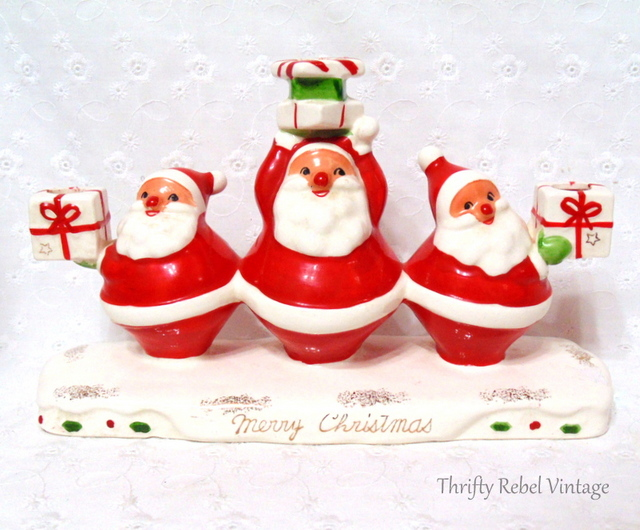 vintage ceramic santa candle holder