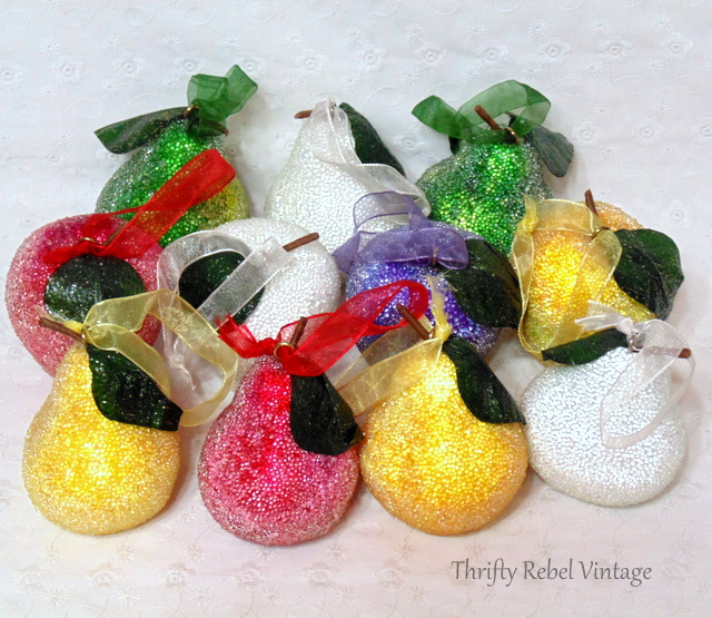 Vintage Beaded Fruit Christmas Tree Ornaments