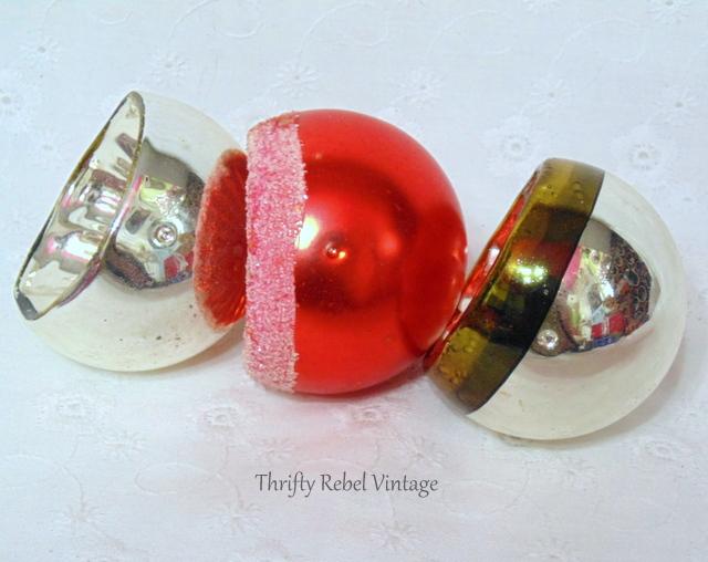 vintage hand blown orange indented glass ornaments