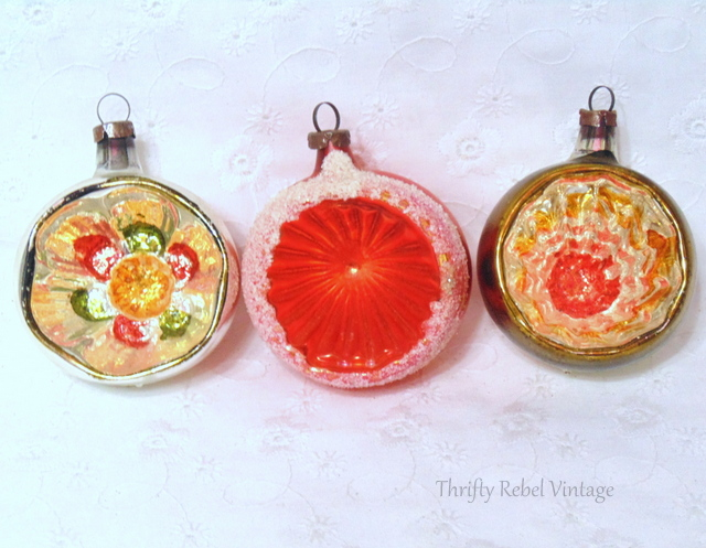 Vintage Hand Blown Glass Indented Ornaments