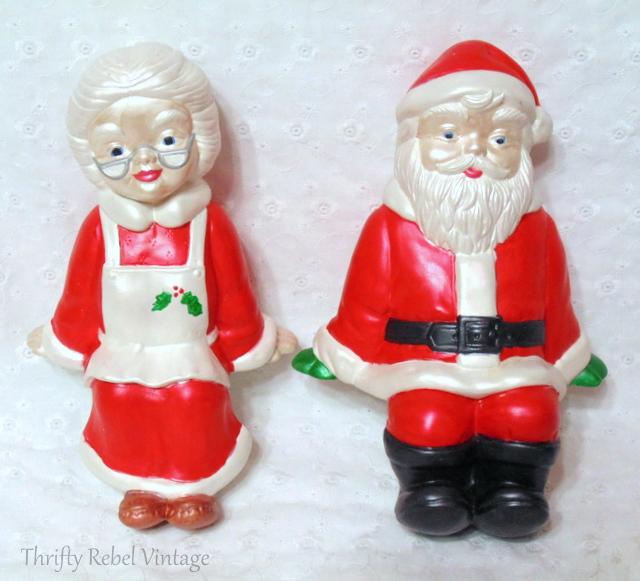 ceramic Santa and Mrs Claus shelf sitters