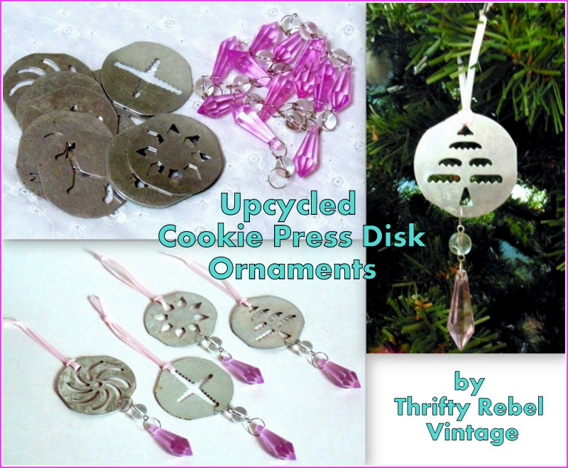 Upcycled Cookie Press Disk Ornaments