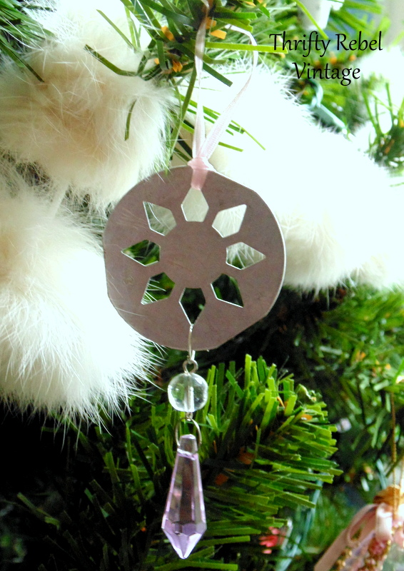 upcycled cookie press disk as tree ornament