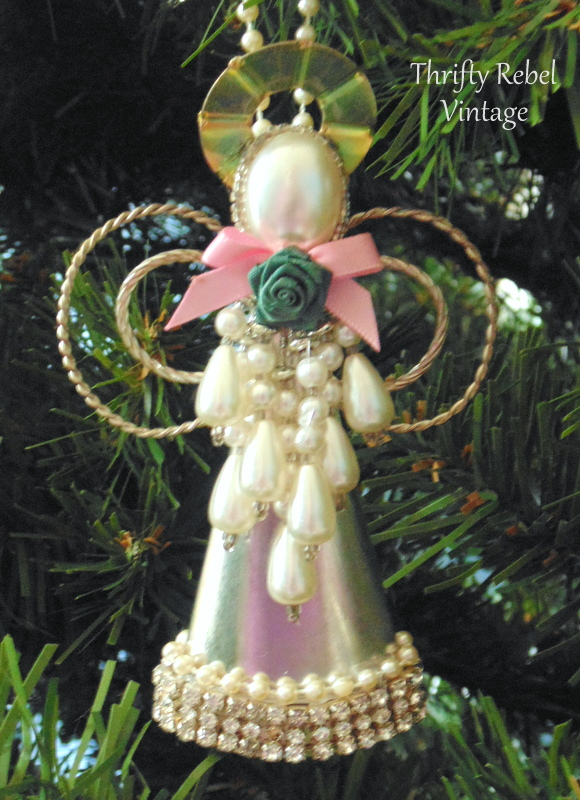 Upcycled Christmas Angel Ornament