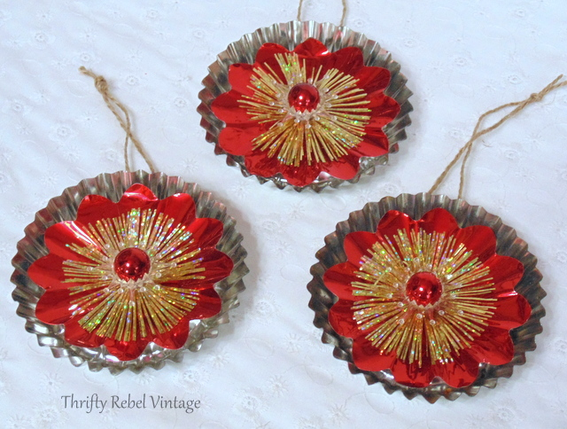 repurposed light reflector Christmas ornaments