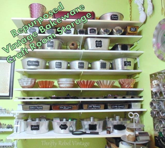 Repurposed vintage bakeware for craft room storage